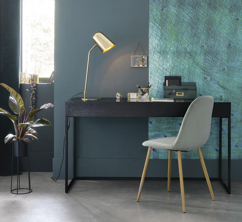 Scrivania a 2 cassetti in metallo nera opal maisons du monde for Scrivania maison du monde