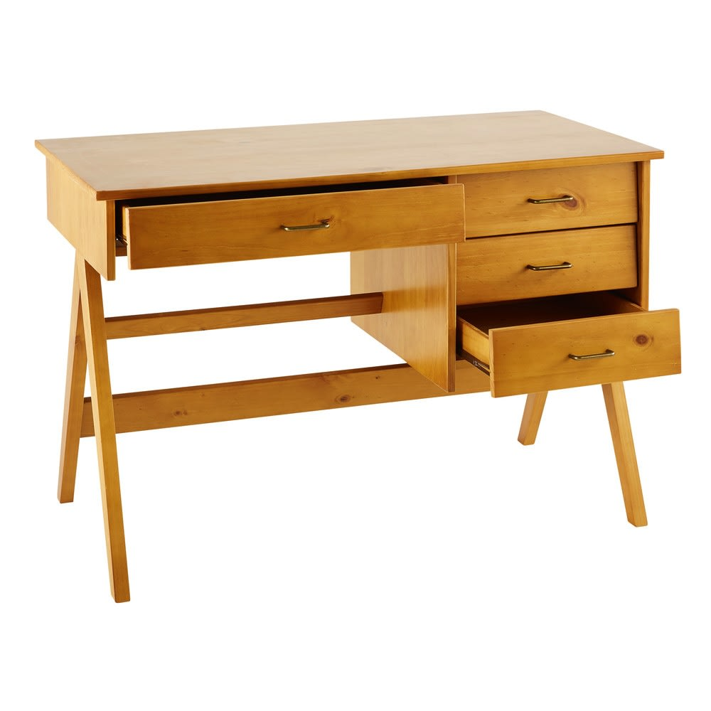 Scrivania a 4 cassetti in legno massello di pino   Maisons du Monde
