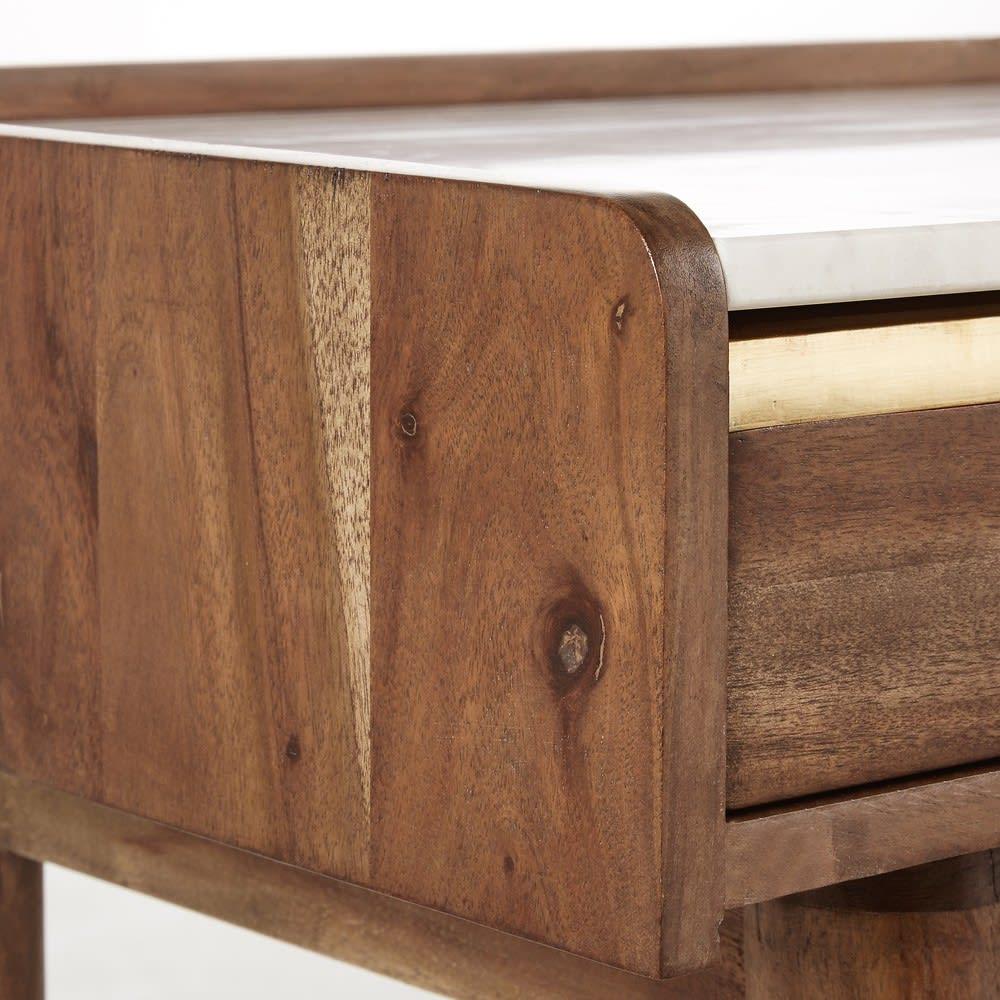 Scrivania in legno massello di acacia e marmo bianco Cappuccino ...