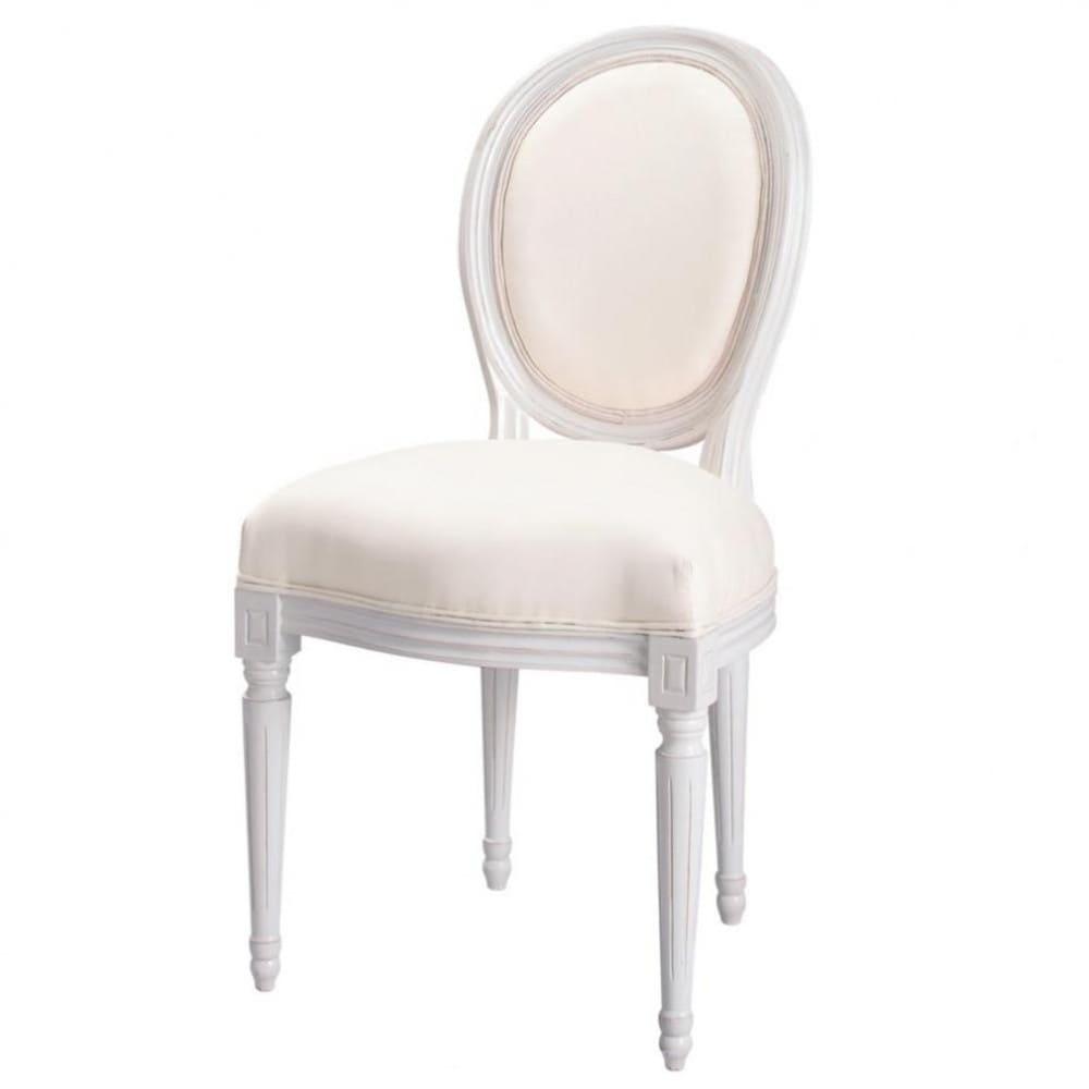 Sedia a medaglione in cotone color avorio e legno bianco Louis ...