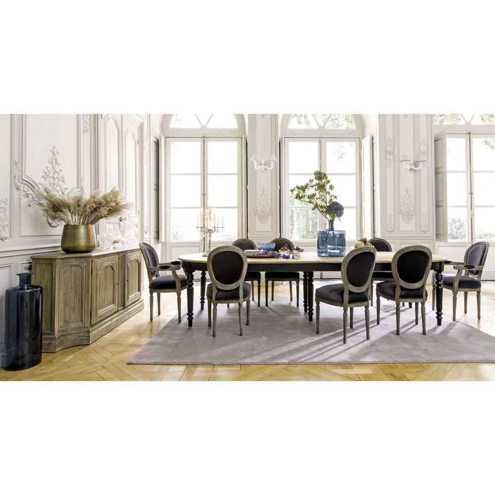 Sedia a medaglione in velluto antracite e legno massello ...