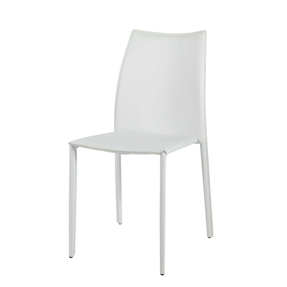 Sedia bianca in cuoio rigenerato Klint   Maisons du Monde