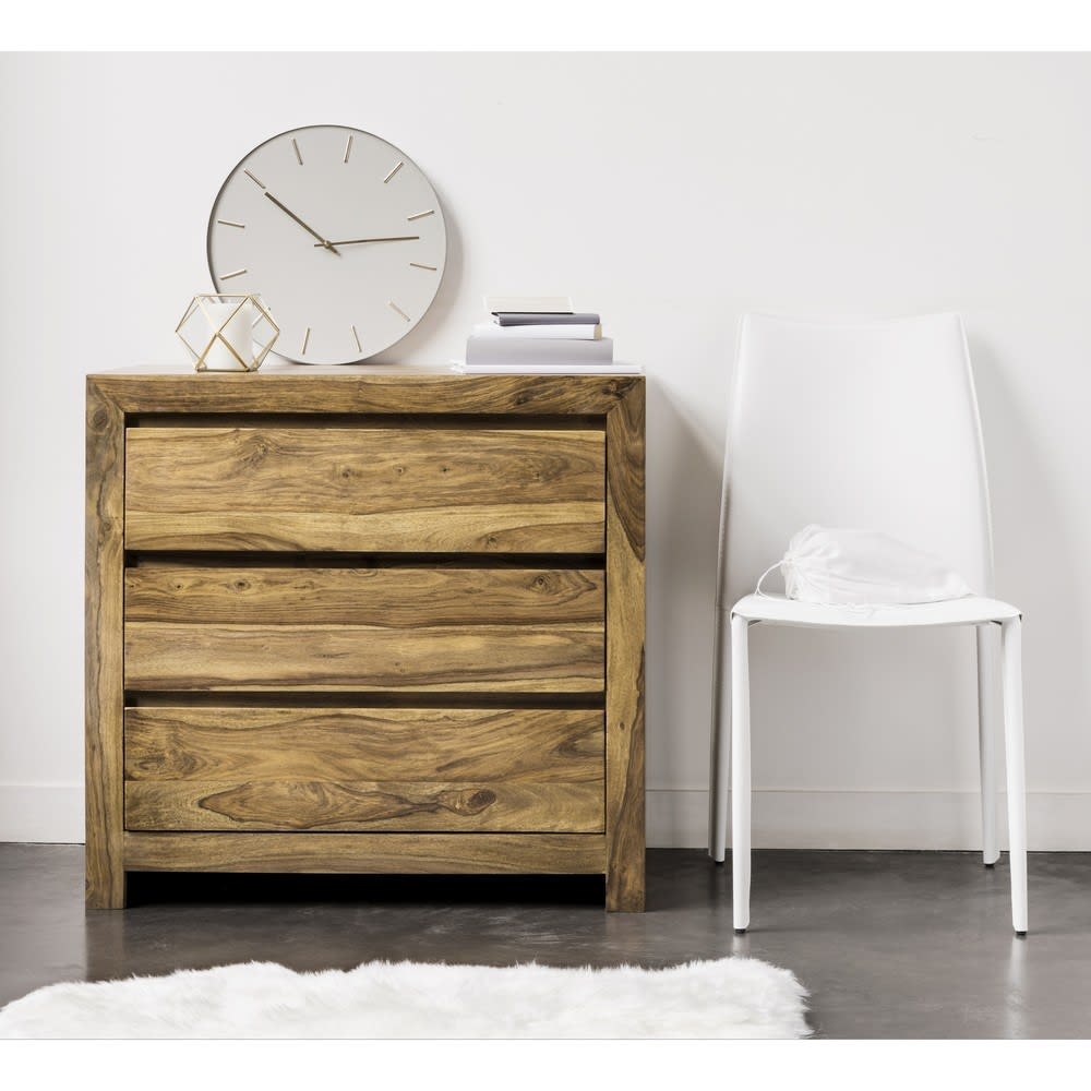 Sedia bianca in cuoio rigenerato Klint | Maisons du Monde