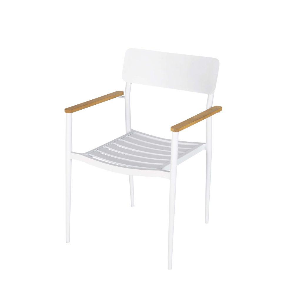 Sedie Alluminio E Legno.Sedia Da Giardino Professionale In Alluminio Bianco E Legno Di Teak