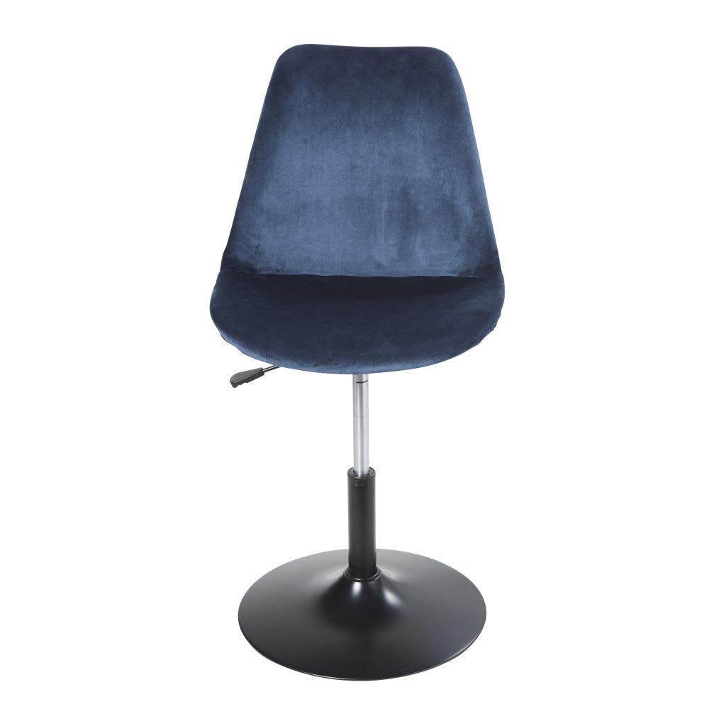 Sedia da scrivania regolabile in metallo e velluto blu for Sedia scrivania