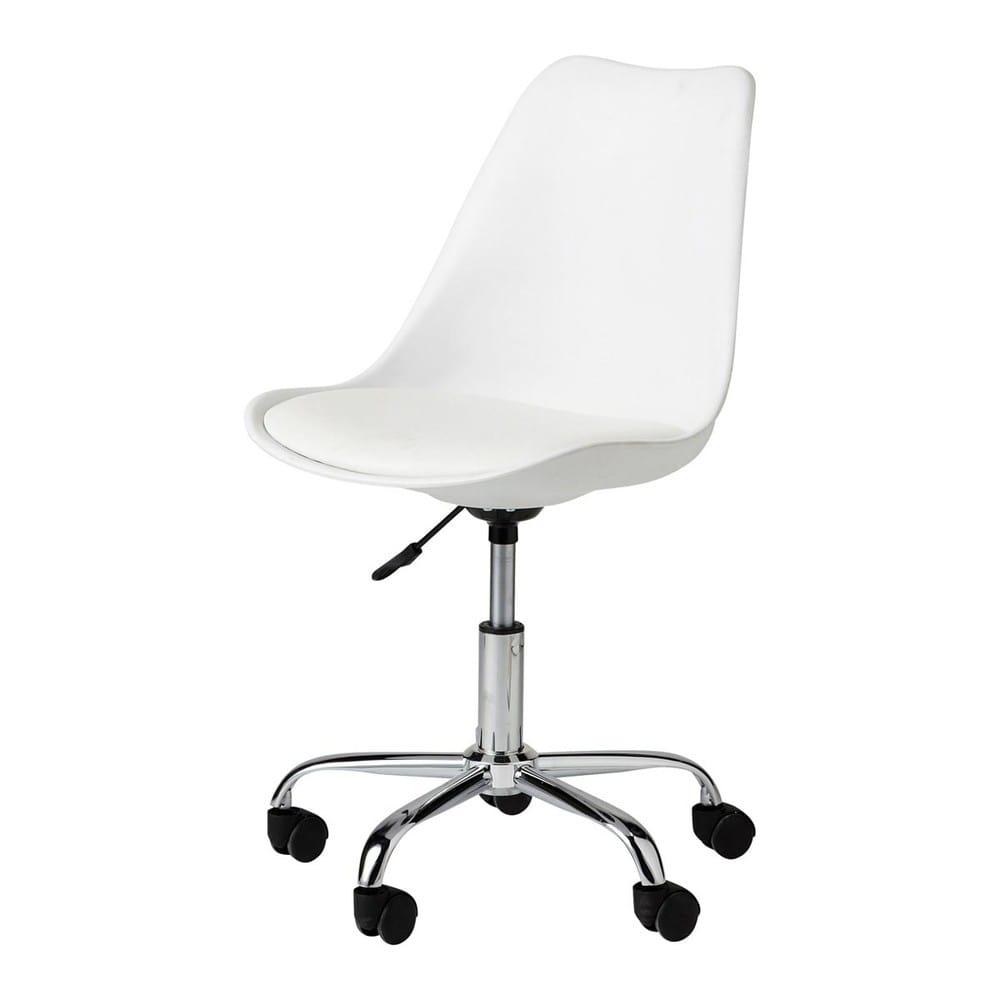 Sedia da ufficio a rotelle bianca bristol maisons du monde for Sedia design bianca