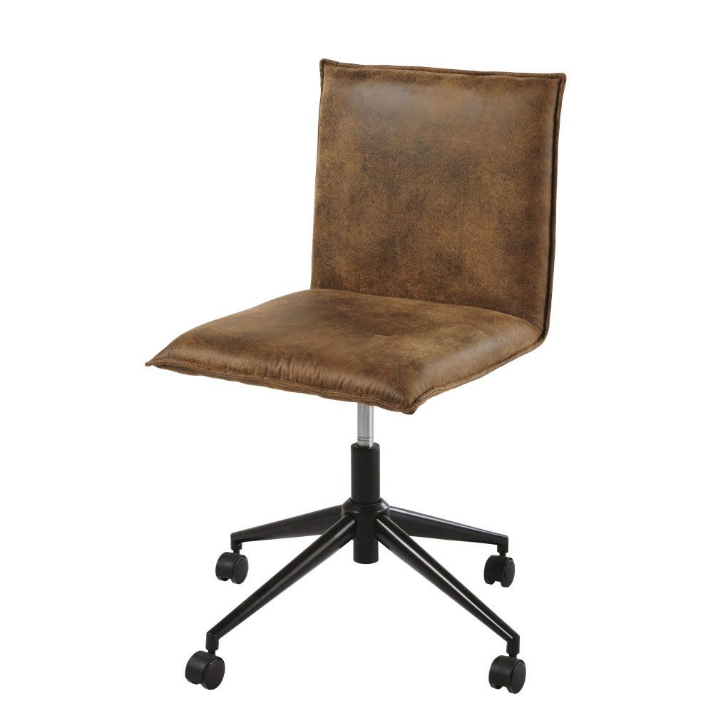 Sedia da ufficio con ruote in microfibra marrone Atelier ...