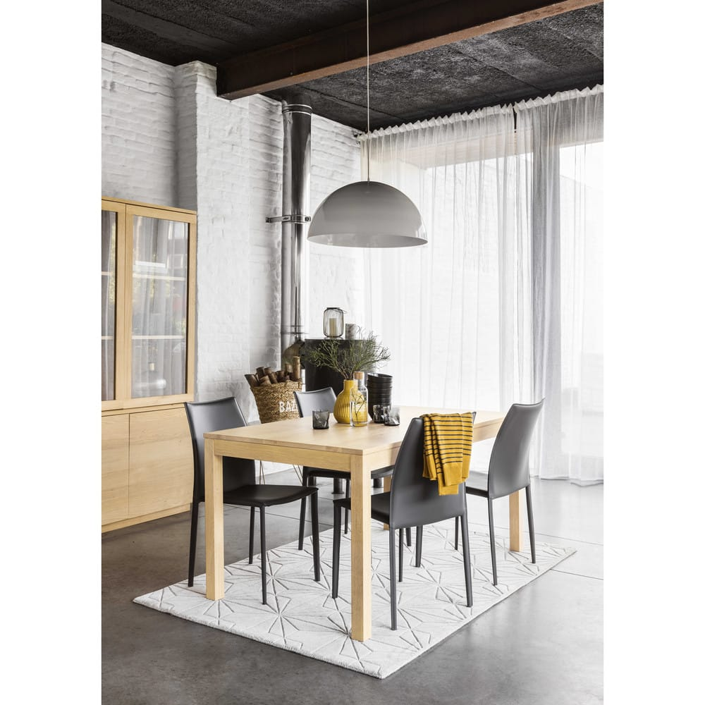 Sedia grigia in cuoio rigenerato Klint | Maisons du Monde