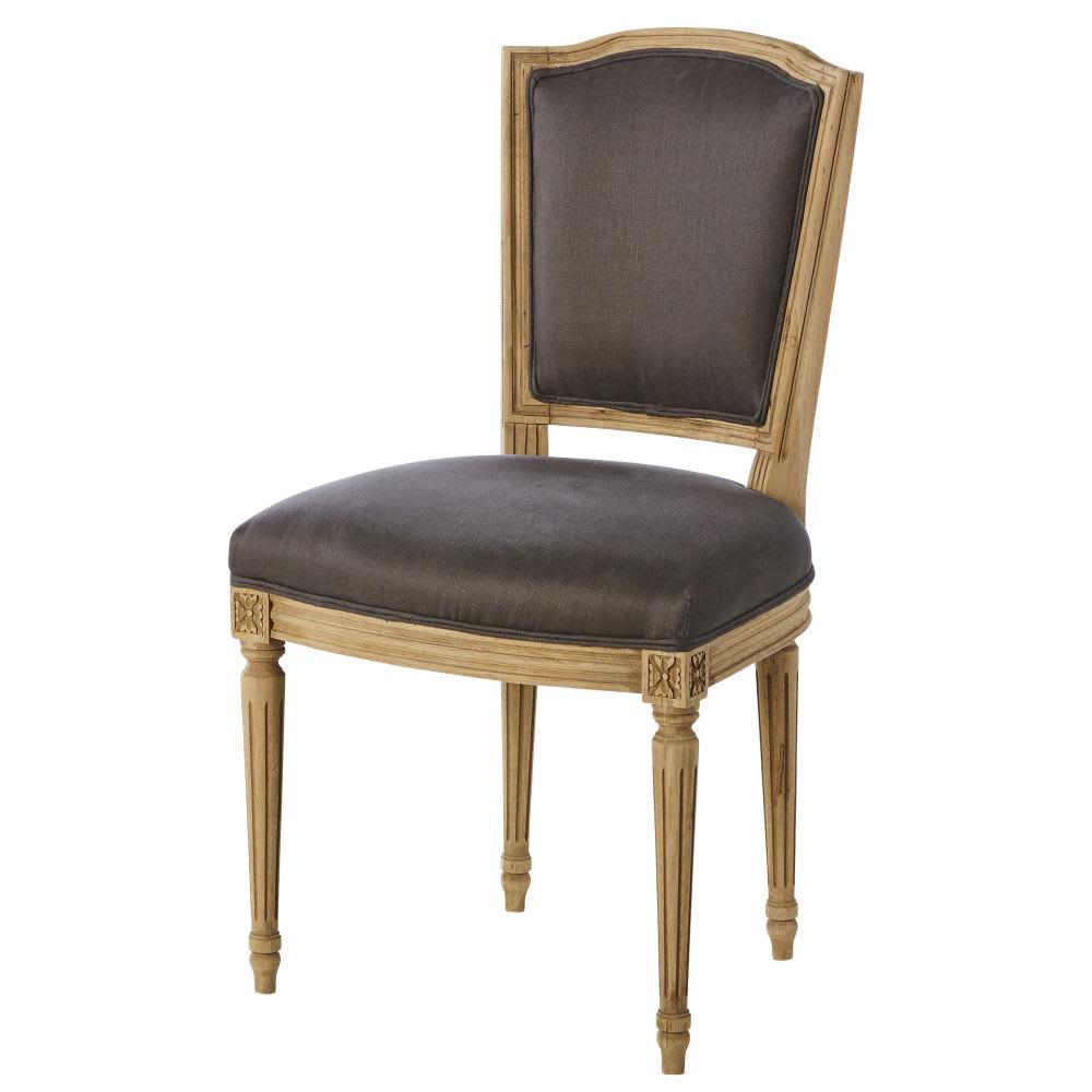 Sedia in lino talpa e legno massello di quercia Isadora | Maisons du ...