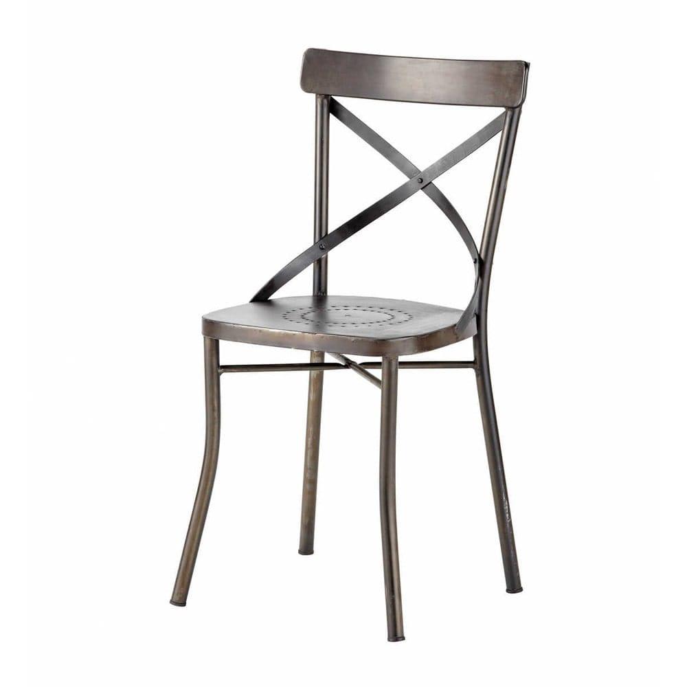 Sedie Da Giardino In Metallo.Sedia Nera Da Giardino In Metallo Effetto Anticato Tradition