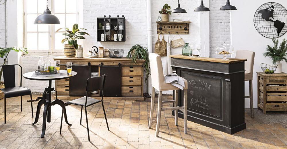 Sedia nera stile industriale in metallo Edison | Maisons ...