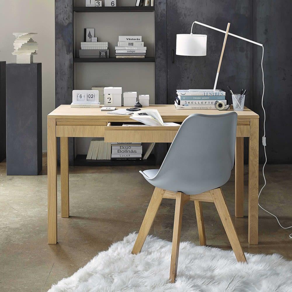 sedia scandinava grigia con gambe in rovere massiccio ice. Black Bedroom Furniture Sets. Home Design Ideas