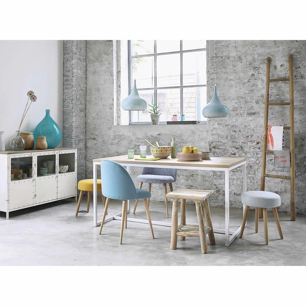 sedia vintage blu e legno massello di betulla mauricette. Black Bedroom Furniture Sets. Home Design Ideas