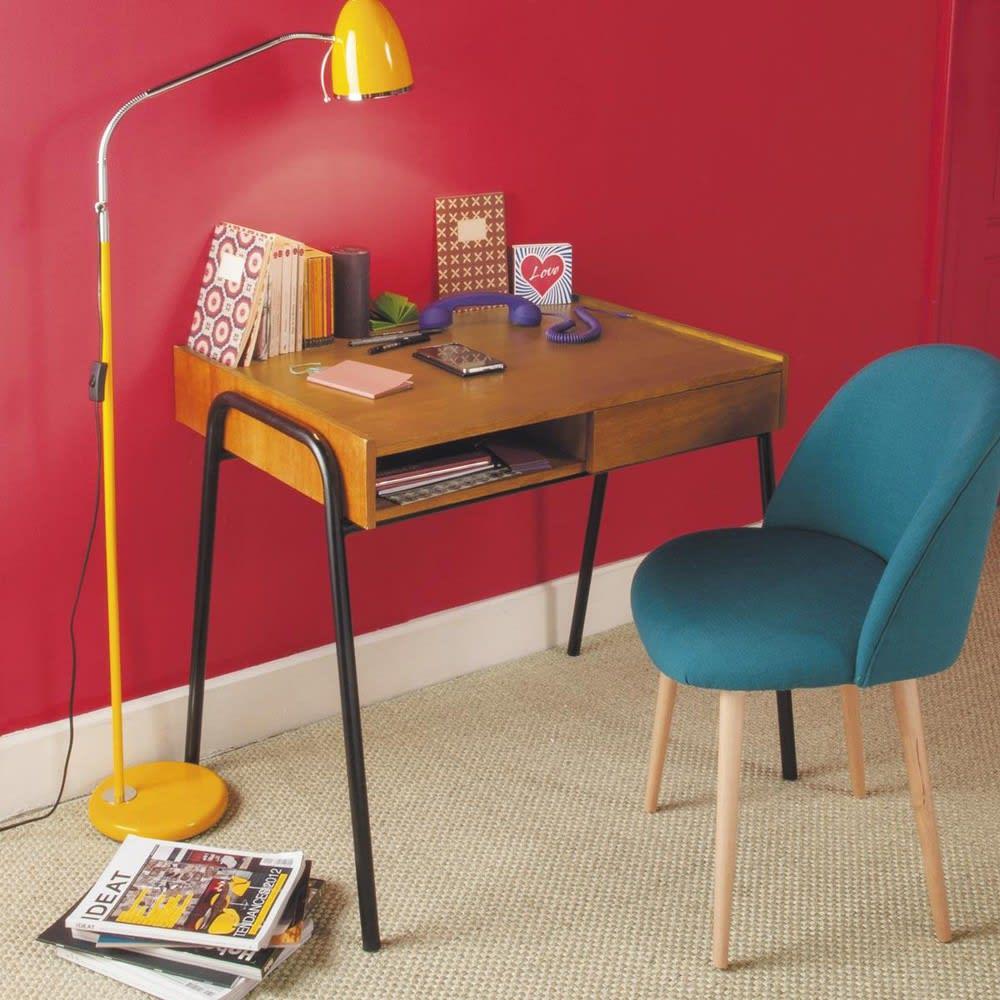 sedia vintage blu petrolio e legno massello di betulla. Black Bedroom Furniture Sets. Home Design Ideas