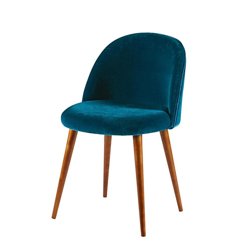sedia vintage in velluto blu pavone e legno massello di. Black Bedroom Furniture Sets. Home Design Ideas