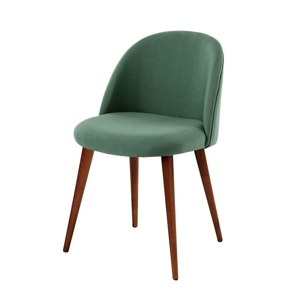 Sedia vintage verde e legno massello di betulla Mauricette | Maisons ...
