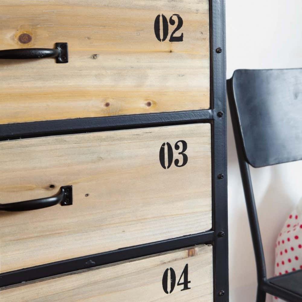 semainier indus 6 tiroirs en m tal noir et sapin docks maisons du monde. Black Bedroom Furniture Sets. Home Design Ideas