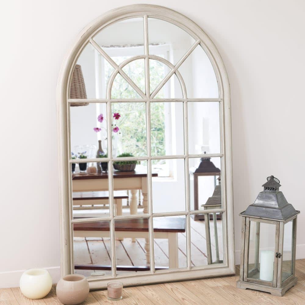 Wooden Mirror In Beige H 150cm Serrant Maisons Du Monde