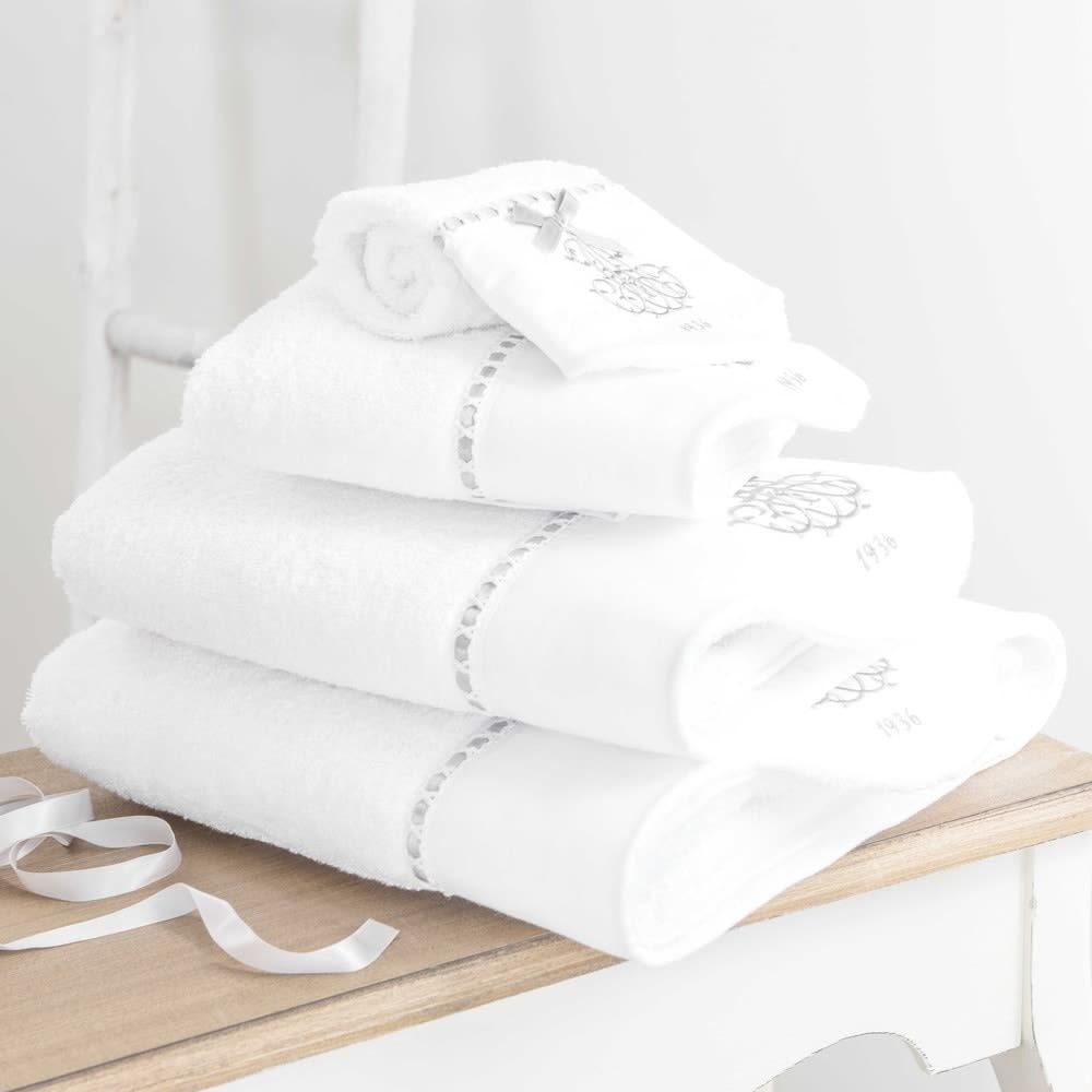 serviette de bain en coton blanc 50x100 si cle maisons. Black Bedroom Furniture Sets. Home Design Ideas