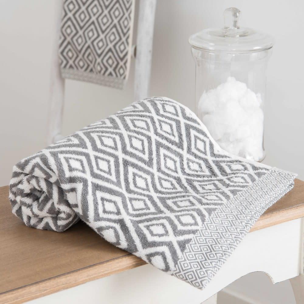 serviette de bain en coton blanc motifs gris 50x100cm. Black Bedroom Furniture Sets. Home Design Ideas