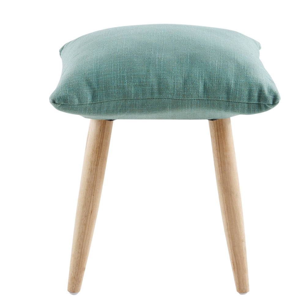 Sgabello verde con gambe in legno di hevea marvin for Gambe di legno