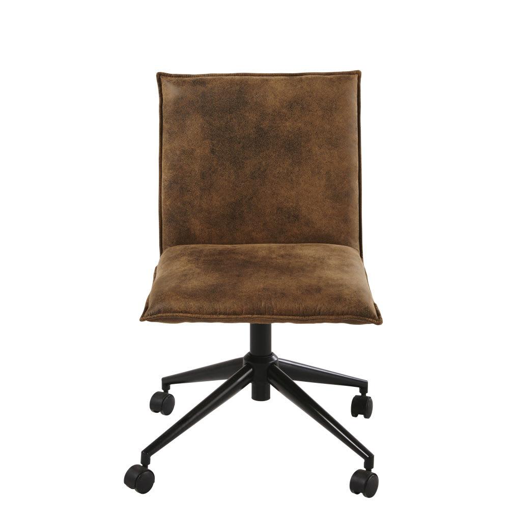 Silla de escritorio con ruedas de suedina marr n atelier for Silla escritorio sin ruedas