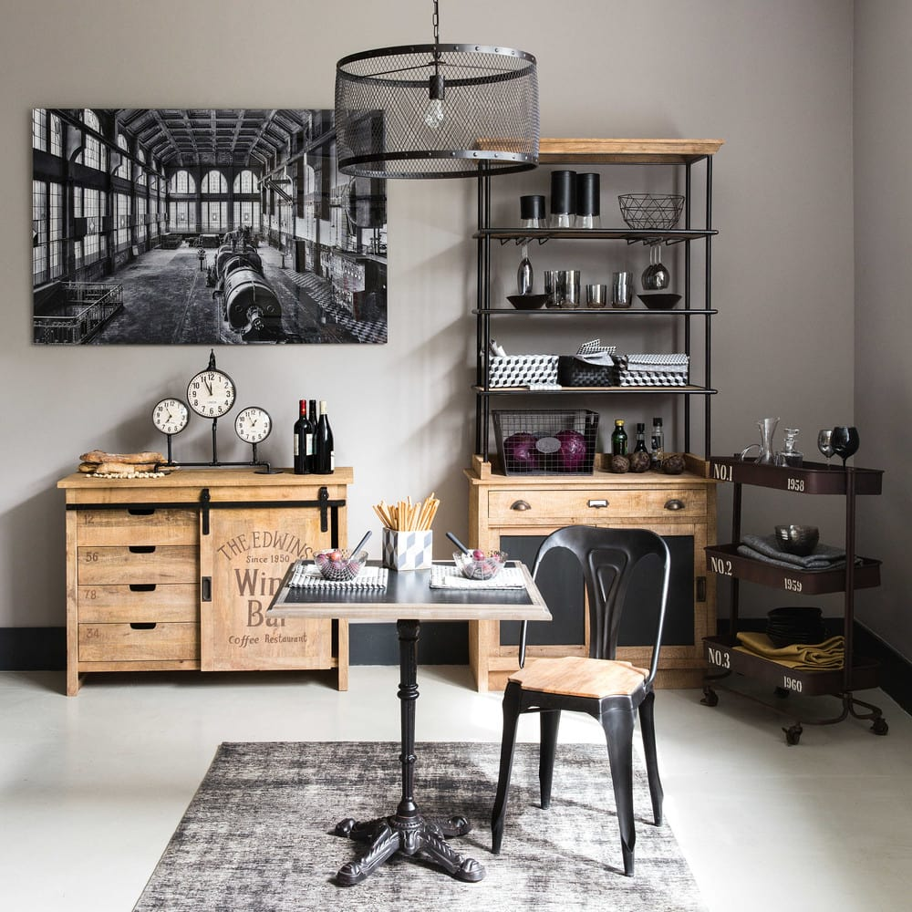 Silla industrial de metal negro mate y mango multipl 39 s for Maison du monde credenze