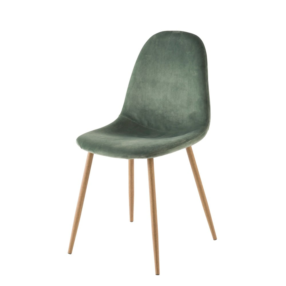 Skandinavischer Stuhl Grüner Samtbezug Clyde Maisons Du Monde