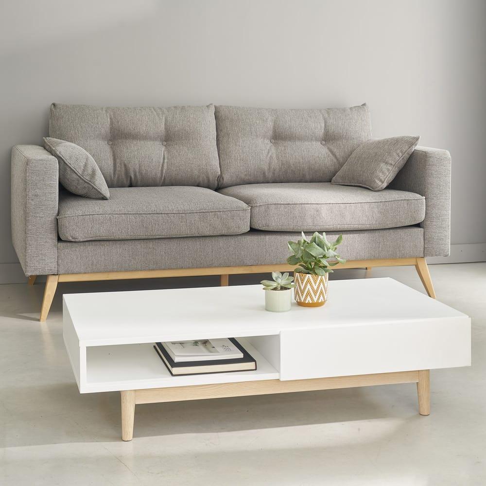 skandinavisches 3 sitzer sofa hellgrau brooke maisons du monde. Black Bedroom Furniture Sets. Home Design Ideas