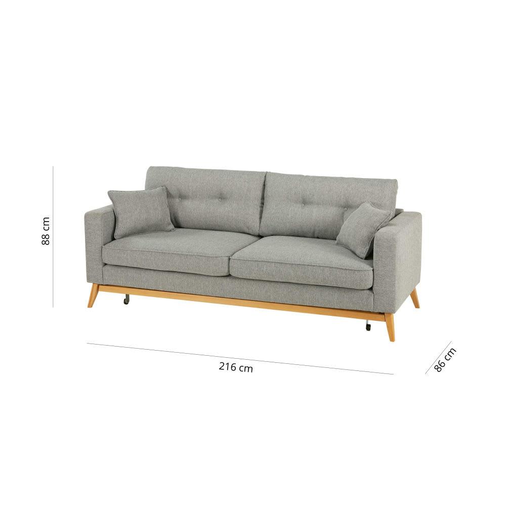 Skandinavisches ausziehbares 3 sitzer sofa aus hellgrauem for Sofa 4 sitzer stoff
