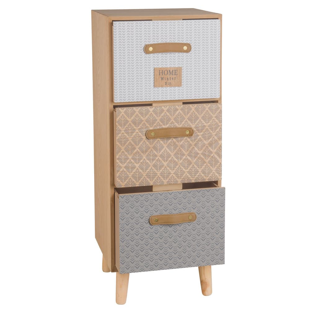 Small 3 Drawer Patterned Storage Unit Linette