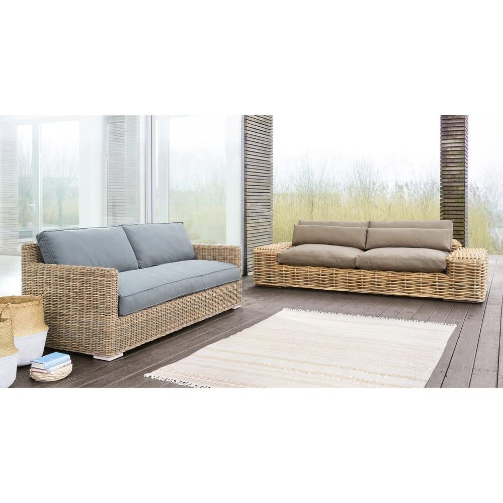 Sofa 2 Sitzer Aus Kubu Rattan Anthrazit Kerguelen Maisons Du Monde