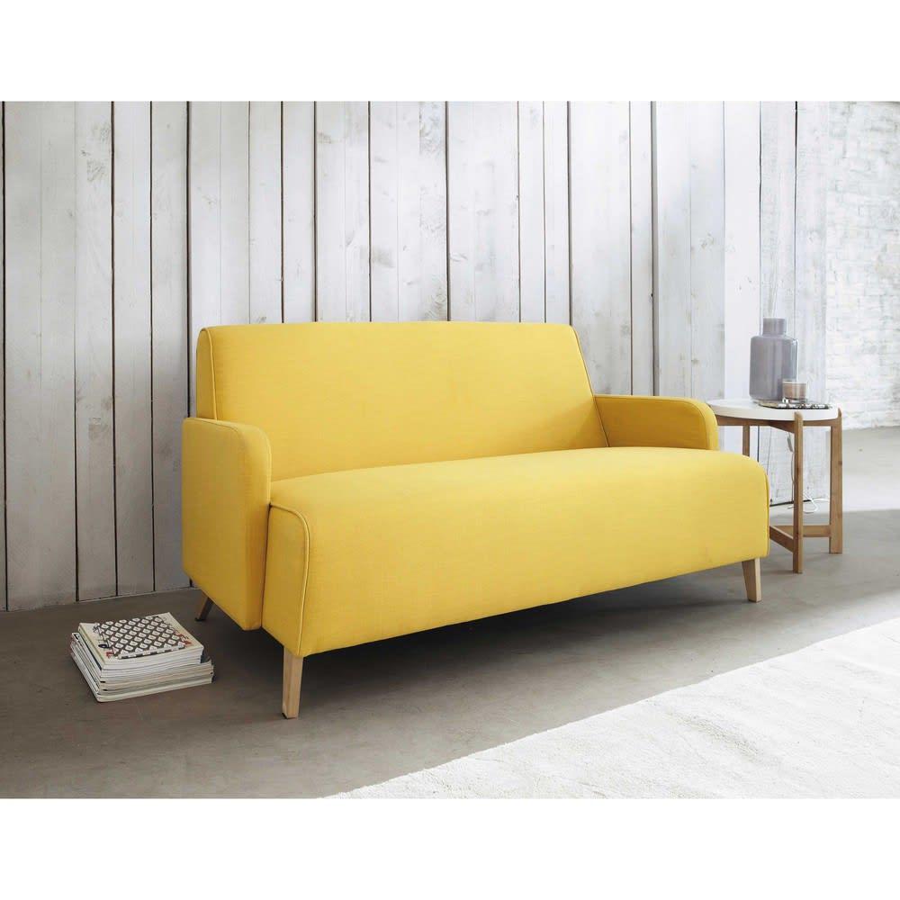 Sofa 2 sitzer aus stoff gelb adam maisons du monde for Sofa 4 sitzer stoff