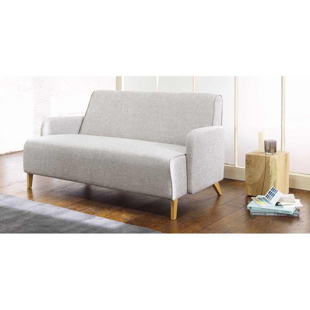 Sofa 2 Sitzer aus Stoff hellgrau Adam
