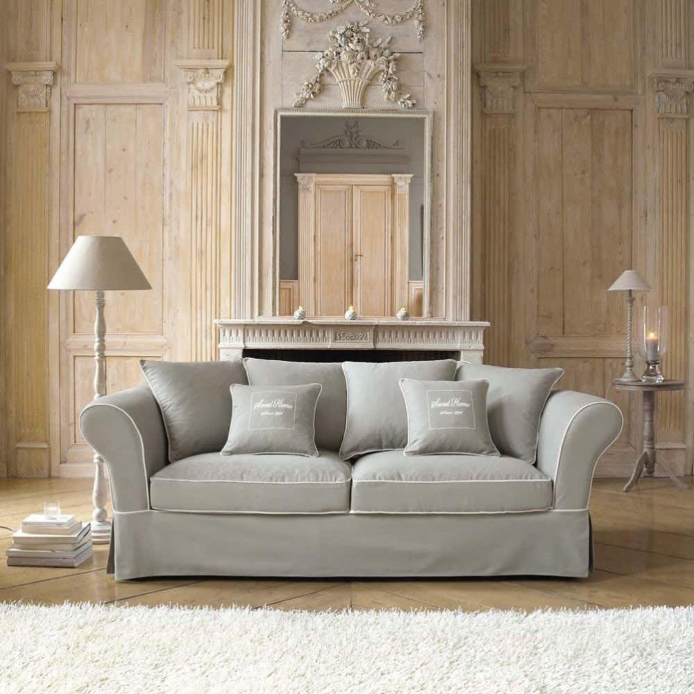Sofa 3 4 Sitzer aus Baumwolle grau Sweet home Sweet home