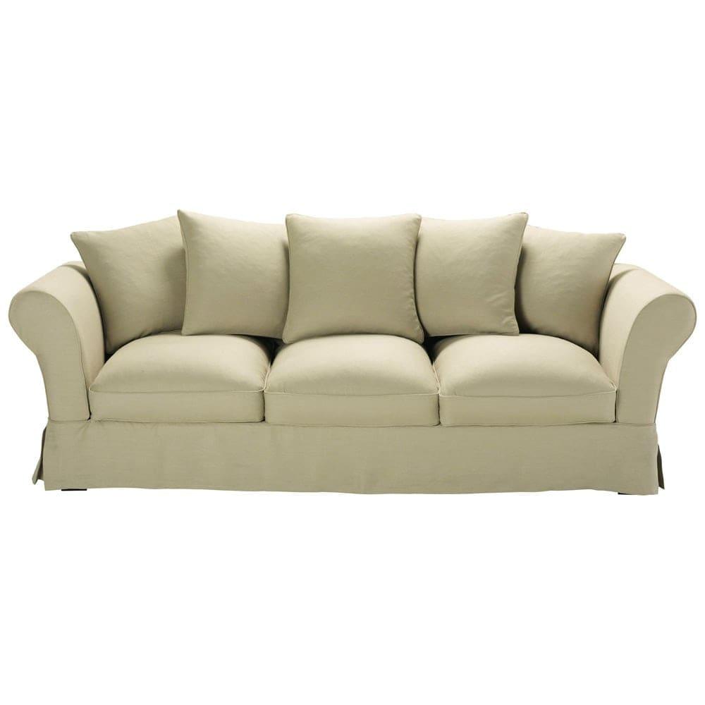 Sofa 4 5 Sitzer aus Leinen beige Roma