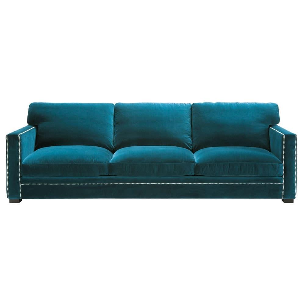 Sofa 4 5 Sitzer aus Samt blau Dandy