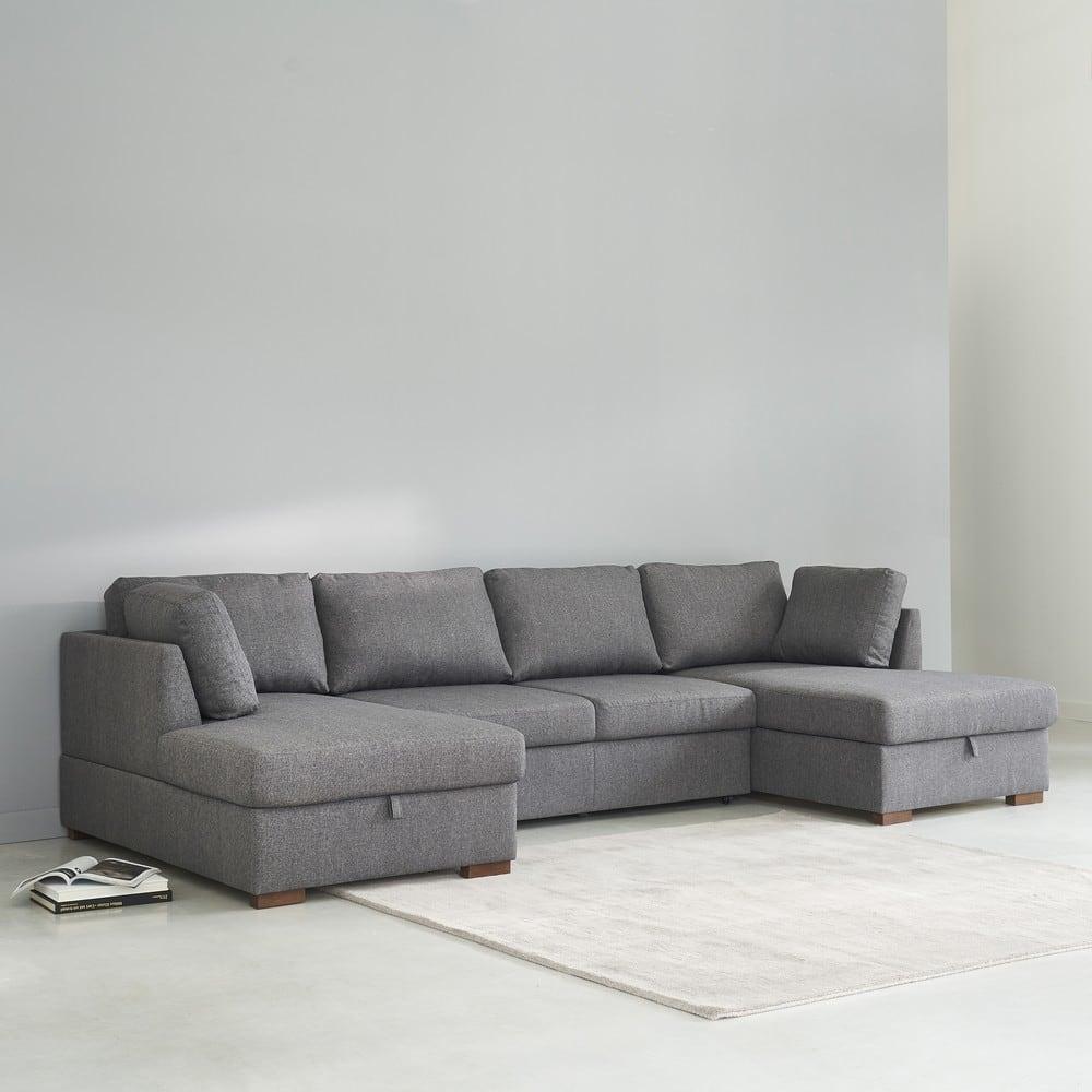 Sofá cama panorámico de 7 plazas gris   Maisons du Monde