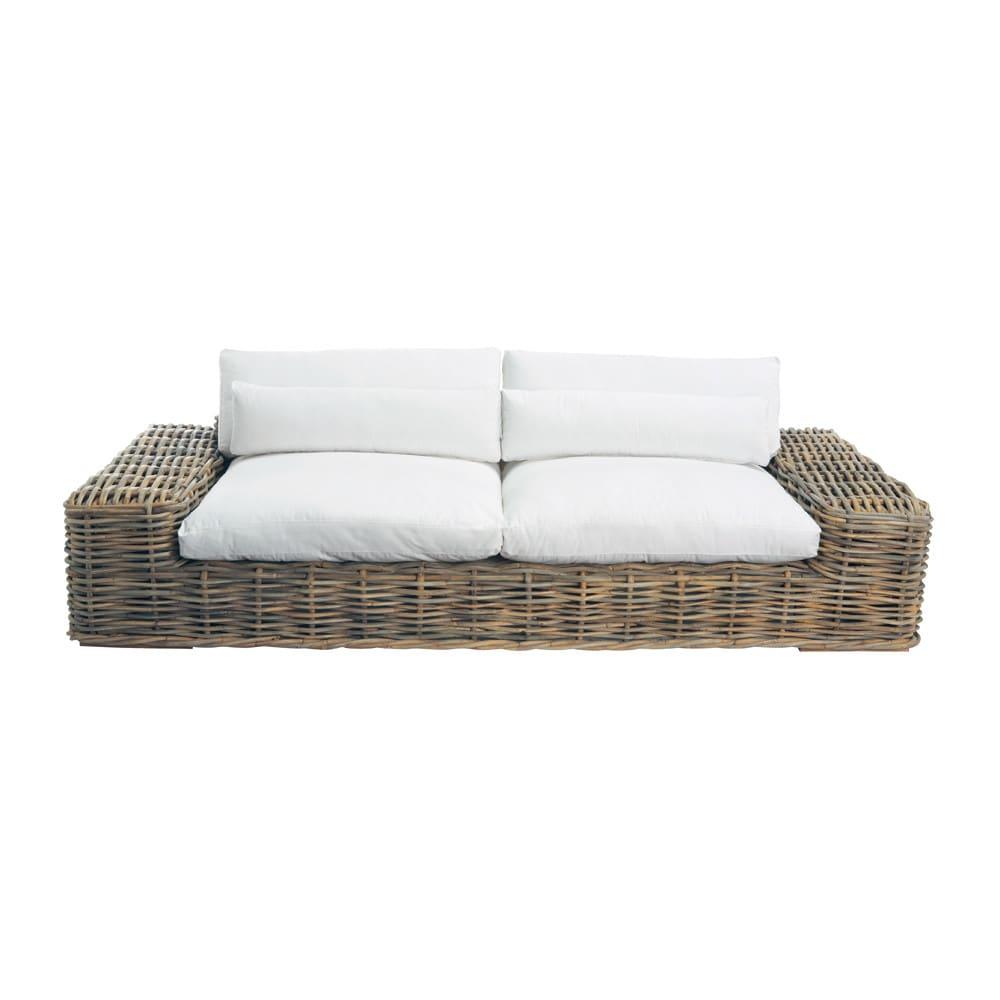 Sofa De 3 4 Plazas De Ratan Y Cojines Crudo St Tropez Maisons Du Monde