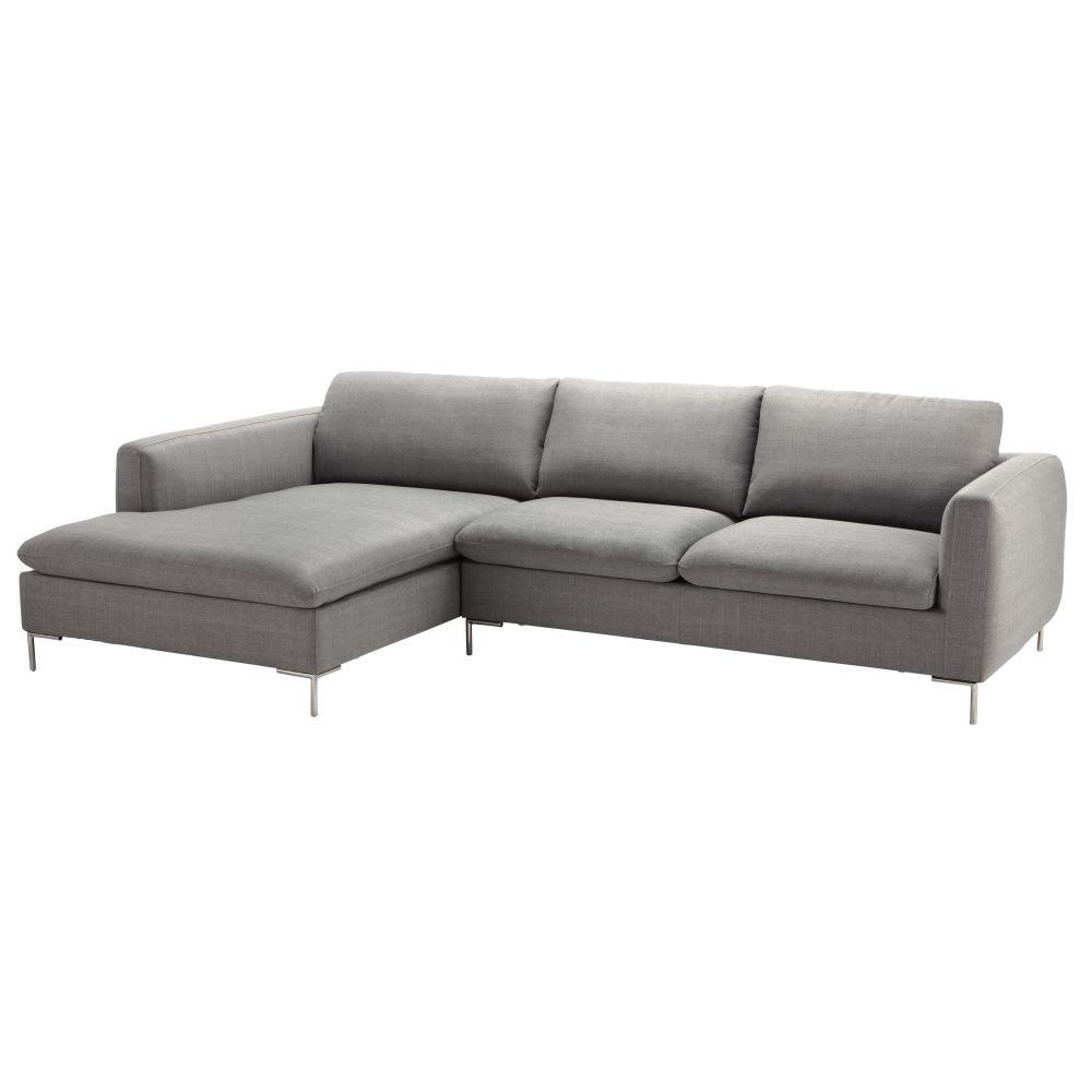 Sofá esquinero izquierdo de 5 plazas de tela gris claro