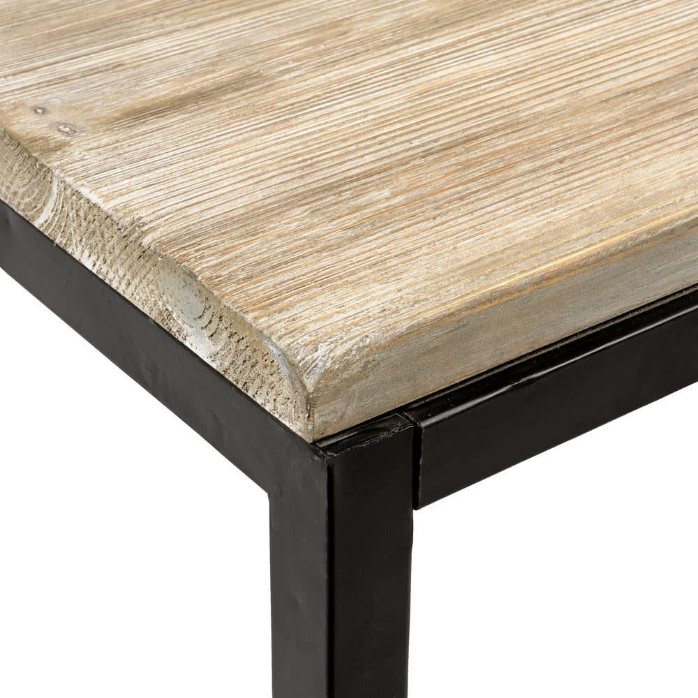 Solid Fir and Metal 6/8-Seater Industrial Dining Table L150