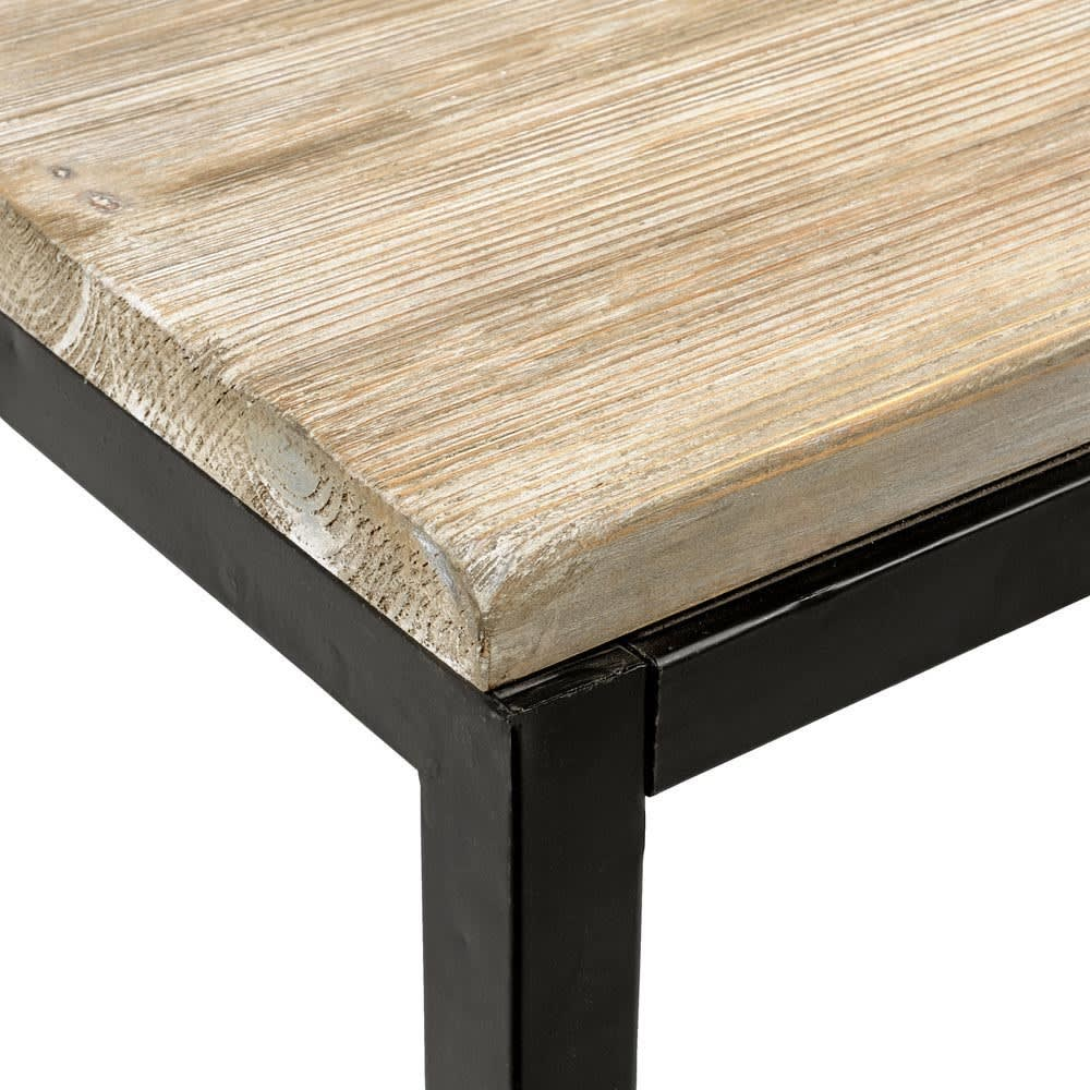 Solid Fir and Metal Industrial Coffee Table