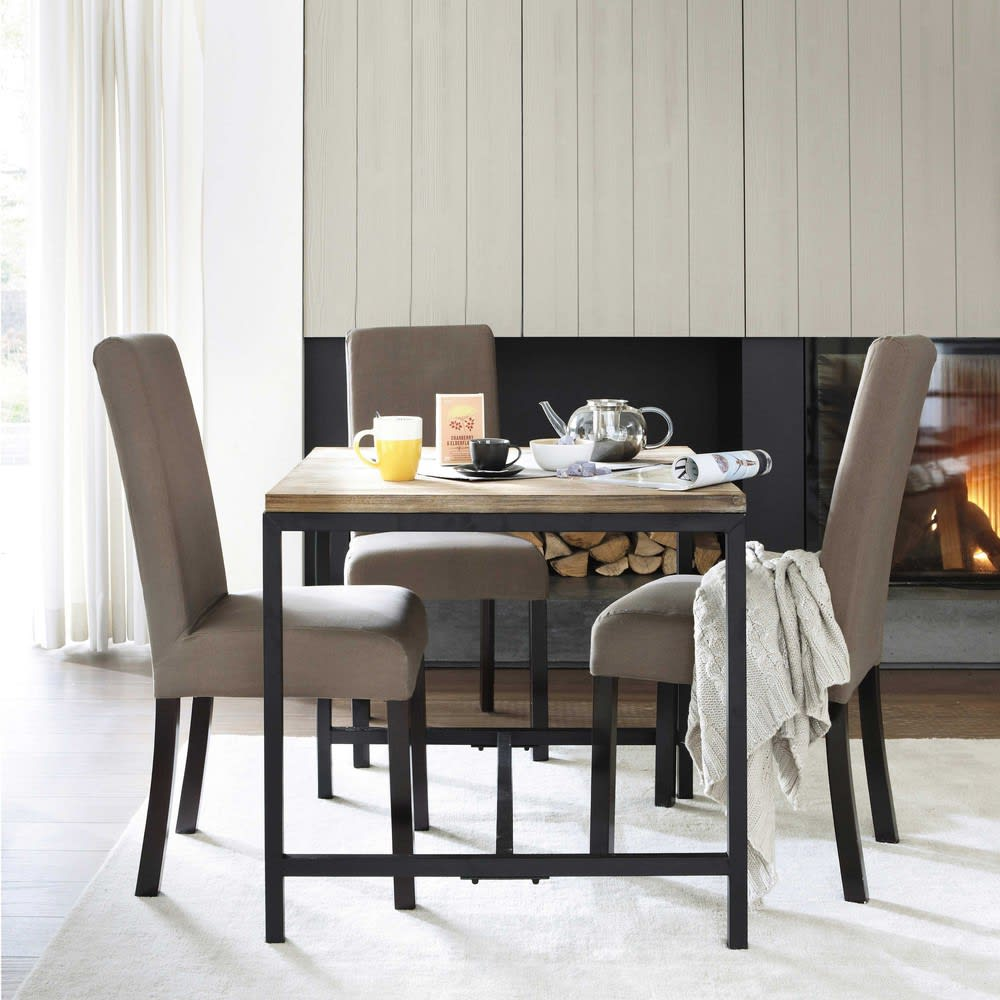 Solid Fir And Metal Industrial Dining Table Long Island