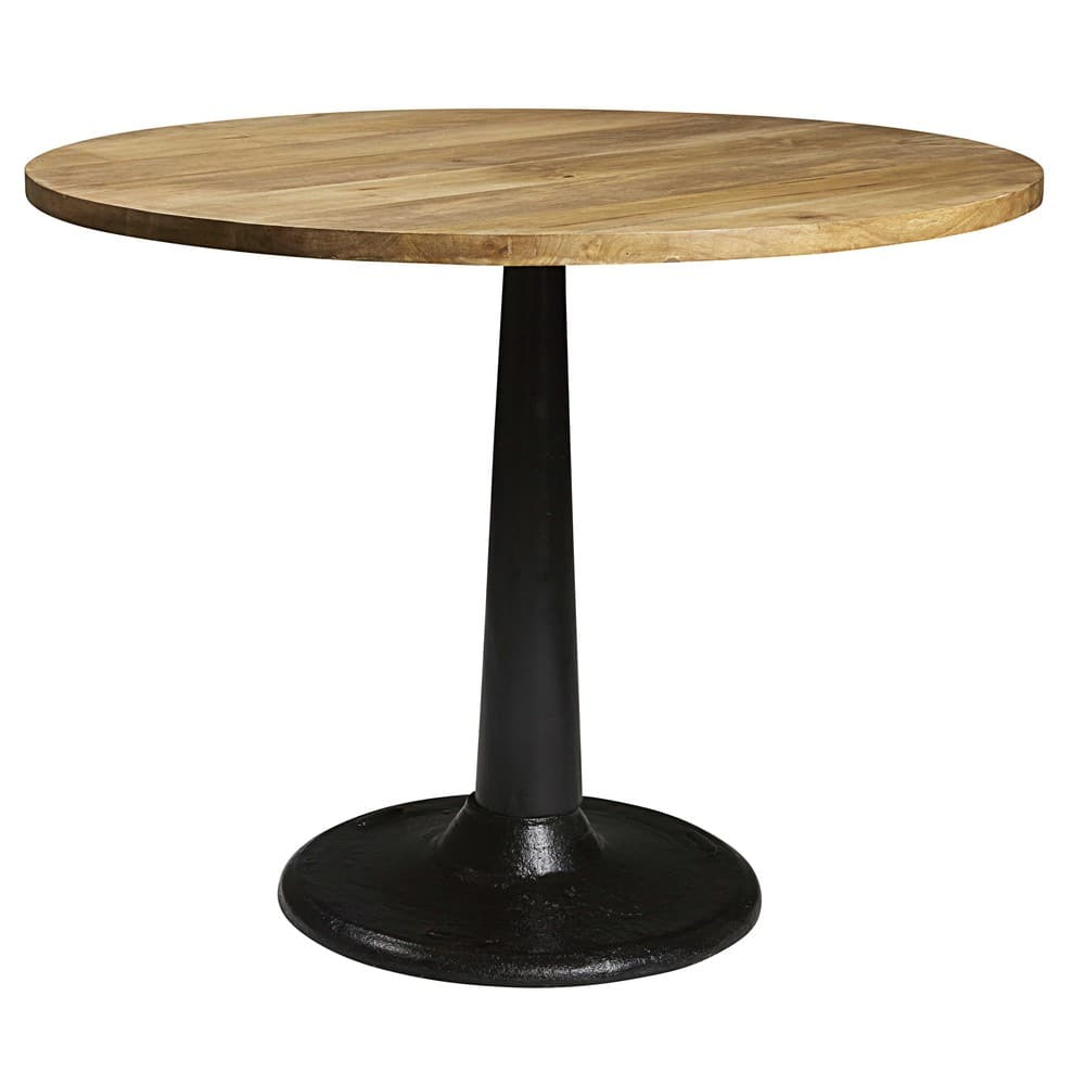 Solid mango wood and black metal dining table D 115 Factory