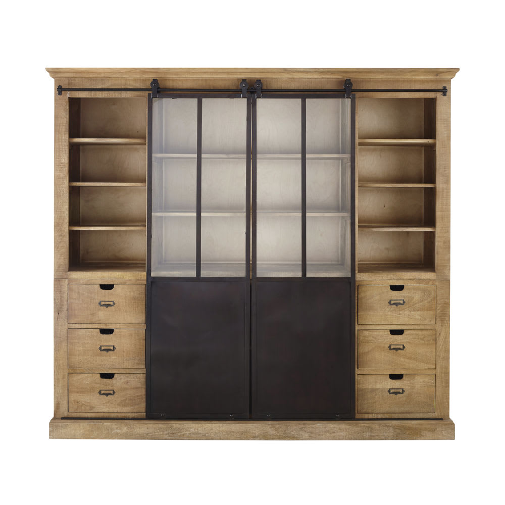 Solid Mango Wood and Metal 2-Door Bookcase