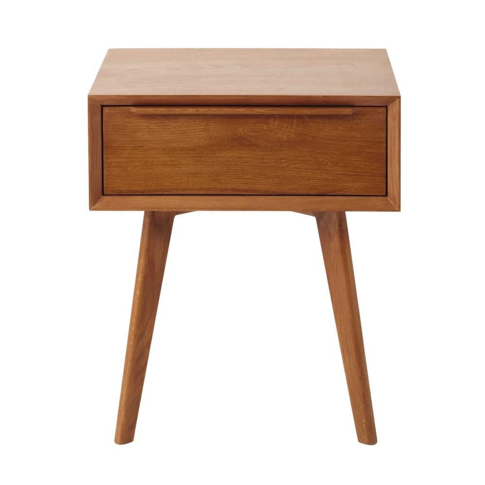 M Line Nachtkastje.Solid Oak Vintage 1 Drawer Bedside Table Portobello Maisons Du Monde
