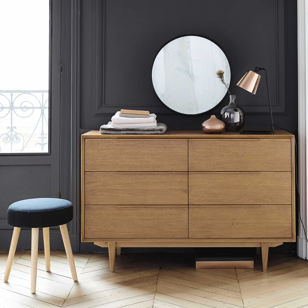 Solid Oak Vintage Double Chest Of Drawers Portobello Maisons Du Monde