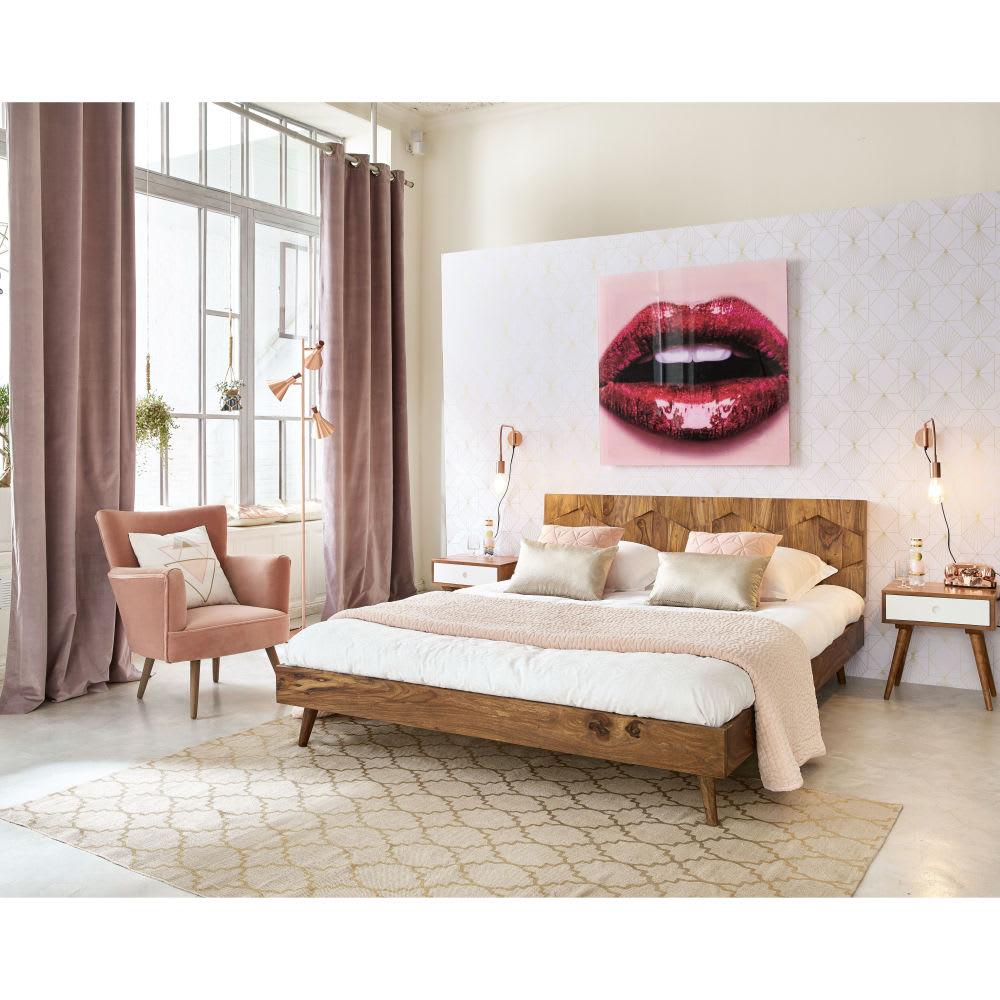 Bedombouw 180 200.Solid Sheesham Vintage Bed 180 X 200 Cm Quadra Maisons Du Monde