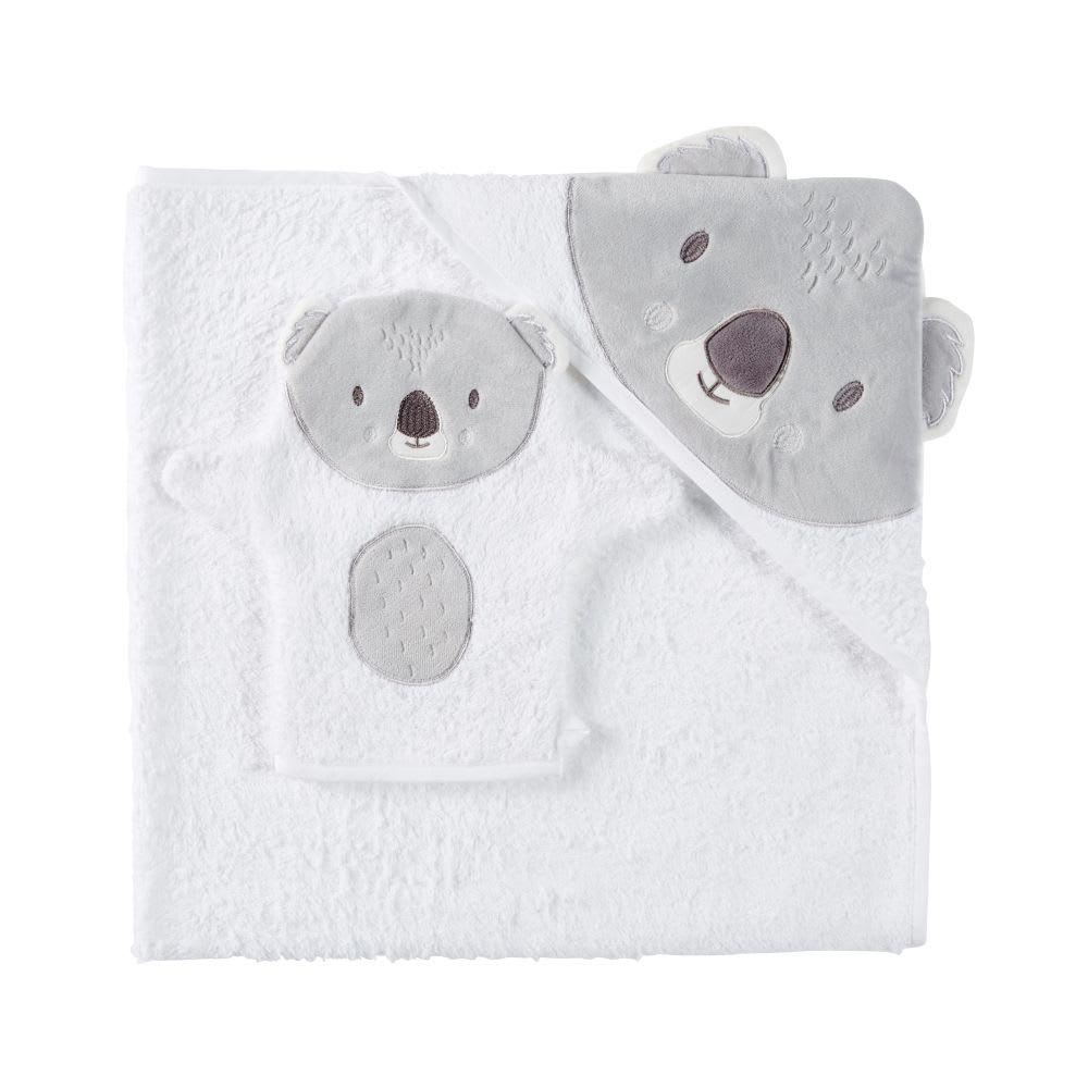 11f0af2263cbb Sortie de bain bébé en coton blanc et gris Koala