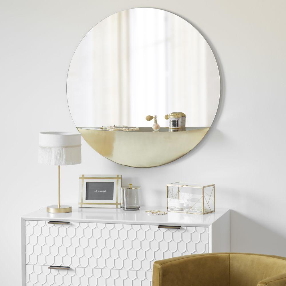 Specchio con mensola in metallo dorato, 80 cm Glendale | Maisons du ...